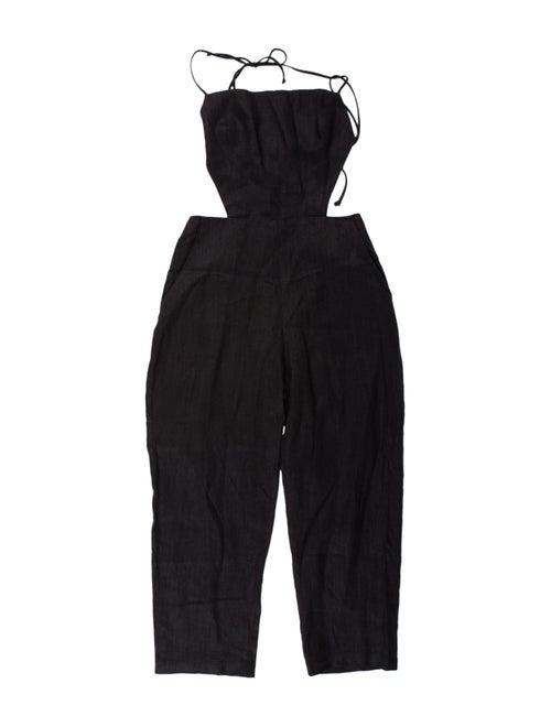 Reformation Linen Halterneck Jumpsuit Black