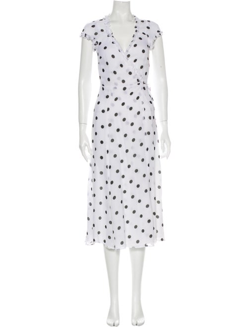 Reformation Polka Dot Print Midi Length Dress Whit