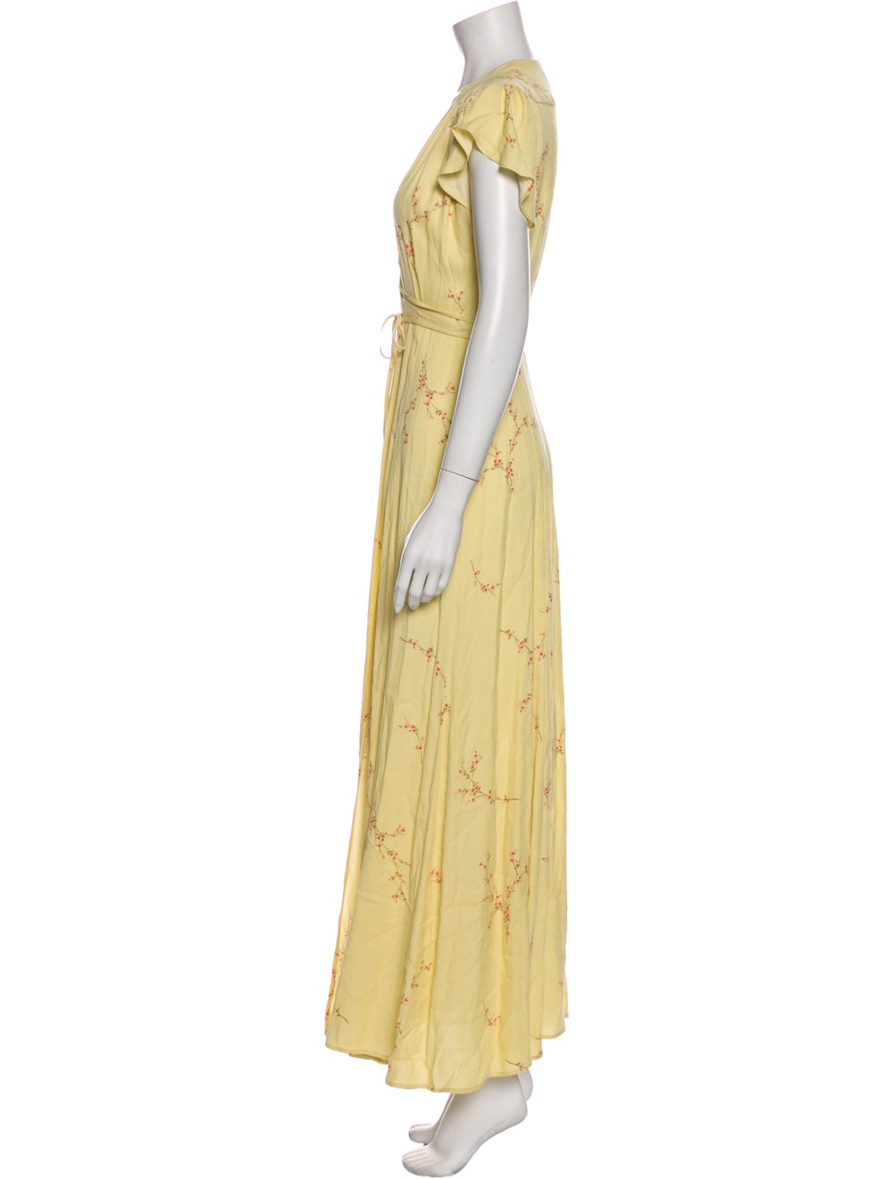 Reformation Floral Print Long Dress Yellow - image 2