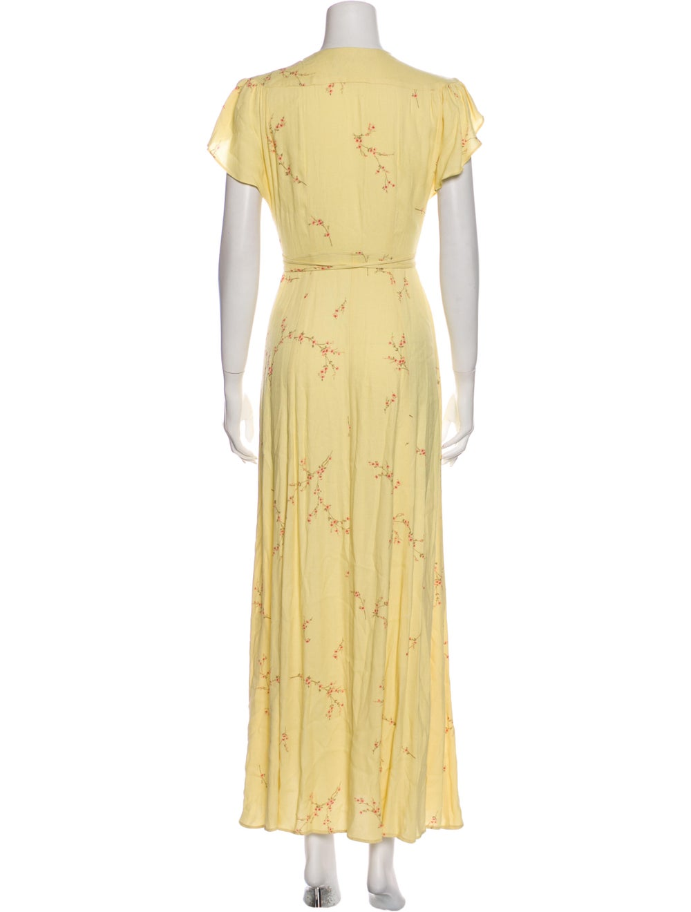 Reformation Floral Print Long Dress Yellow - image 3