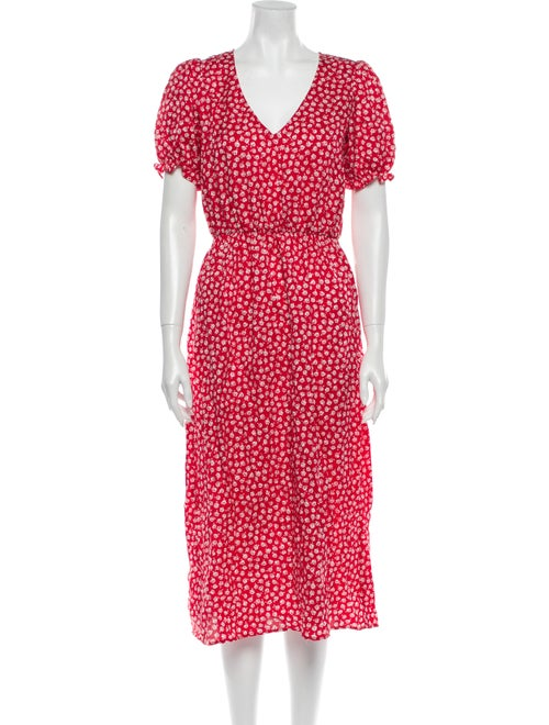 Reformation Floral Print Midi Length Dress Red