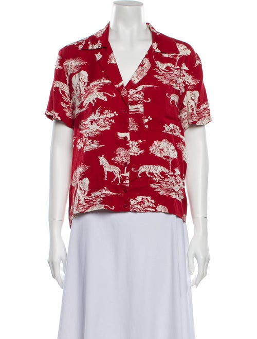 Reformation Floral Print Short Sleeve Blouse Red