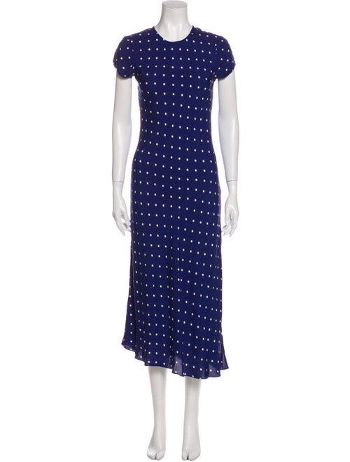 Reformation Polka Dot Print Long Dress Blue