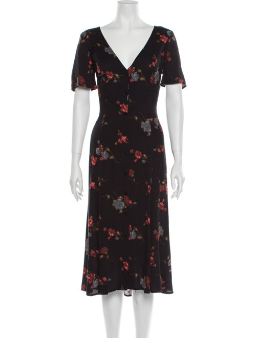 Reformation Floral Print Midi Length Dress Black
