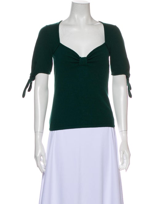 Reformation Cashmere Square Neckline Sweater Green