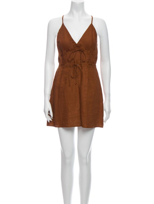 Reformation Linen Mini Dress Brown