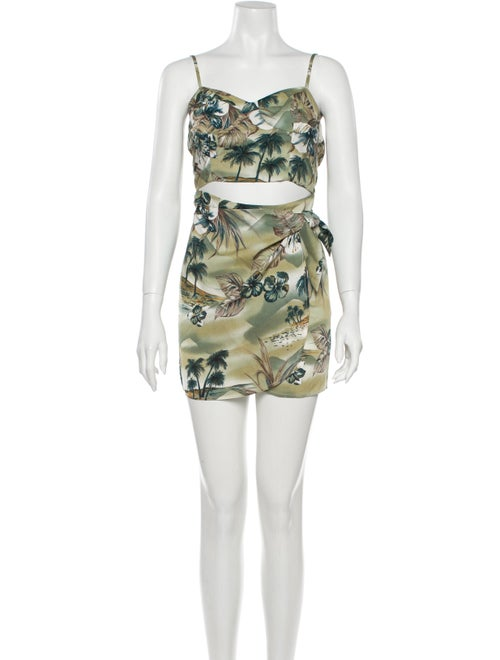 Reformation Printed Mini Dress Green