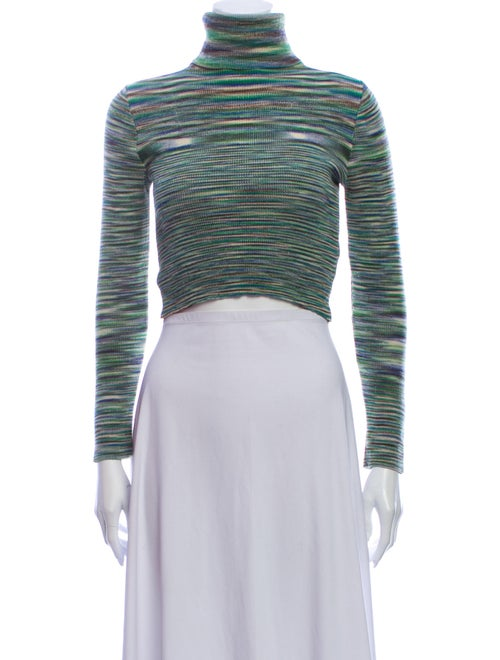 Reformation Striped Turtleneck Sweater Green