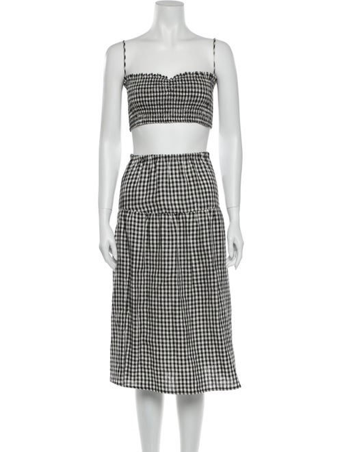 Reformation Plaid Print Skirt Set Black