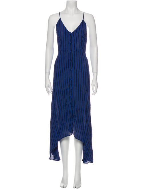 Reformation Striped Long Dress Blue