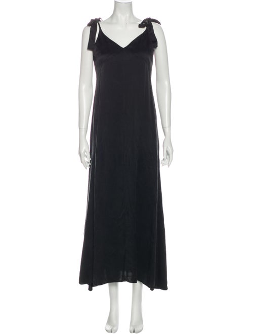 Reformation Silk Long Dress Black - image 1