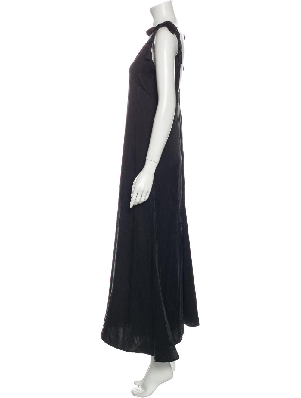 Reformation Silk Long Dress Black - image 2