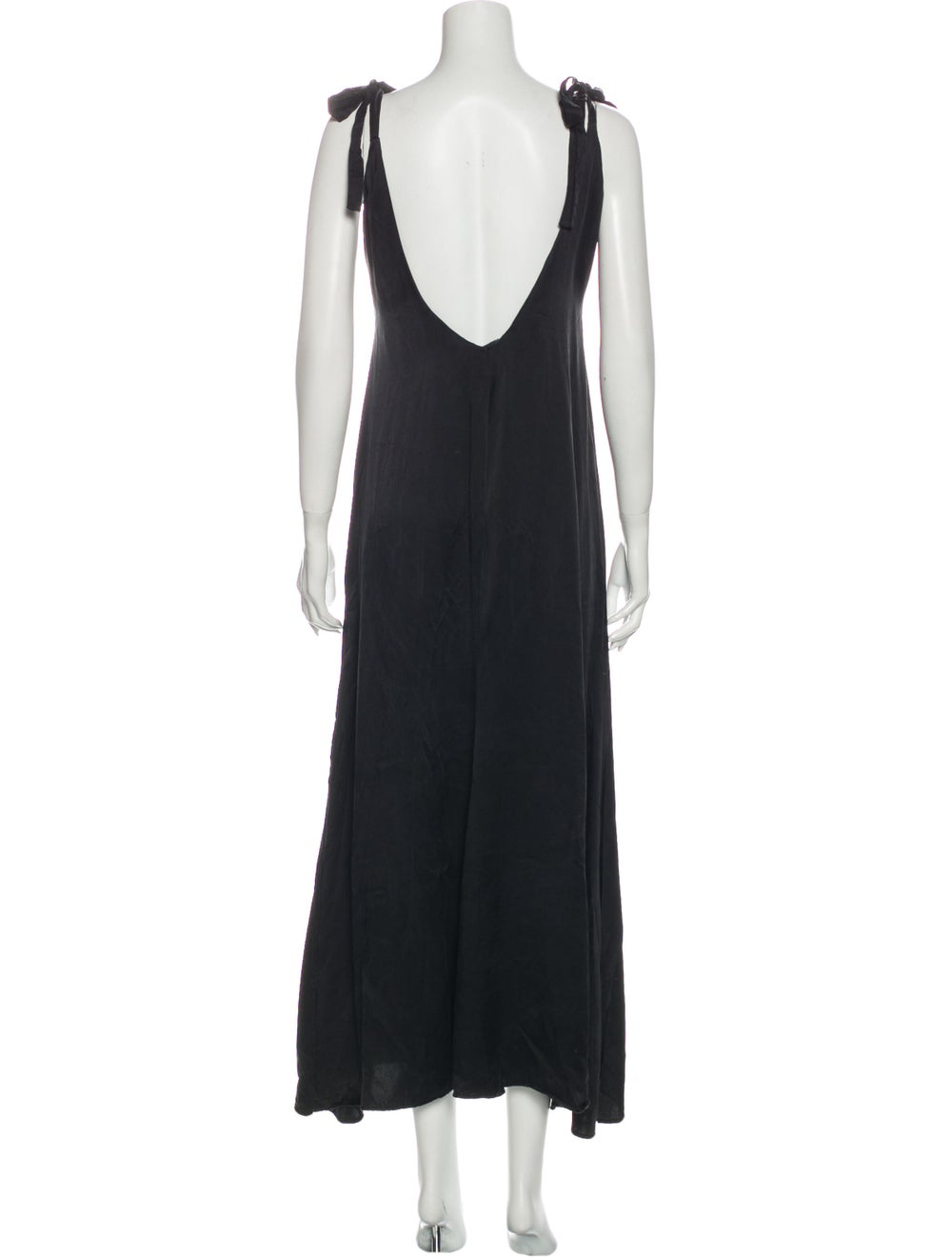 Reformation Silk Long Dress Black - image 3