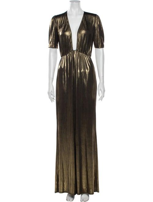 Reformation Plunge Neckline Long Dress Gold