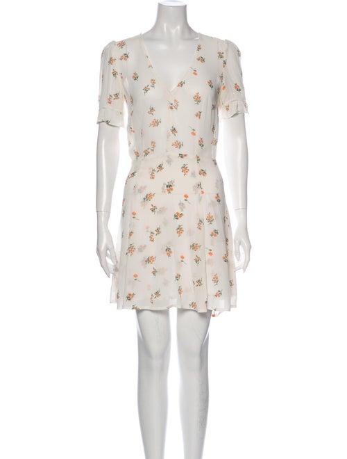 Reformation Floral Print Mini Dress White