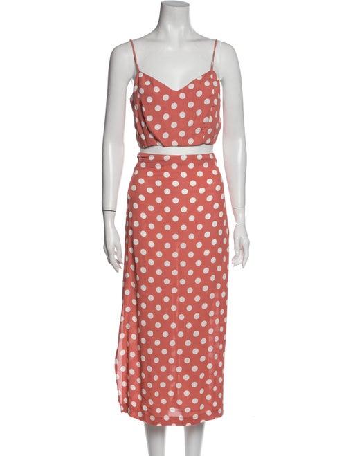 Reformation Polka Dot Print Skirt Set Pink