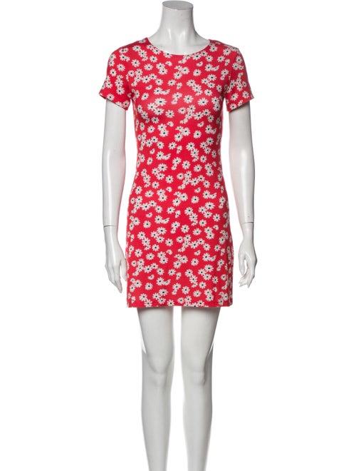 Reformation Floral Print Mini Dress Red