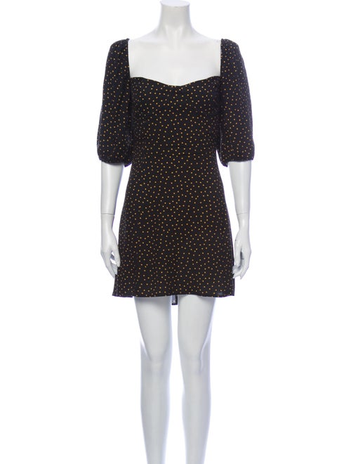 Reformation Polka Dot Print Mini Dress Black