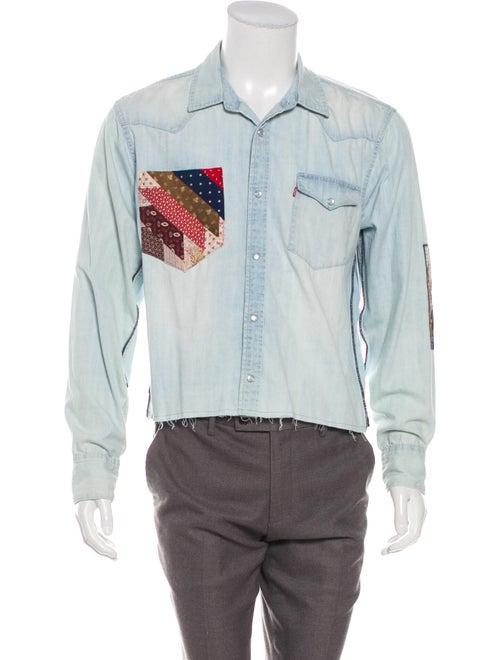 R.g. Kane Patchwork Denim Shirt blue