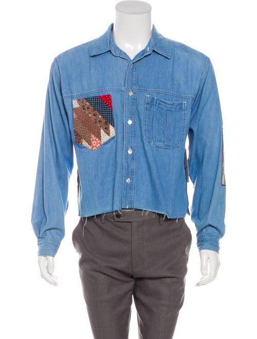 R.g. Kane Patchwork Denim Shirt w/ Tags blue