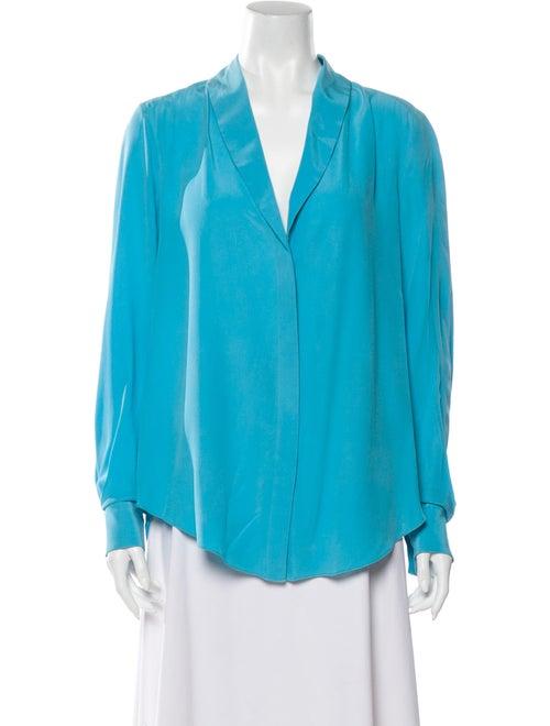 Rachel Roy Silk Long Sleeve Blouse Blue