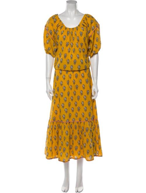 Rhode Printed Long Dress Yellow