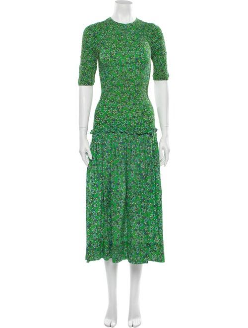 Rhode Floral Print Long Dress Green