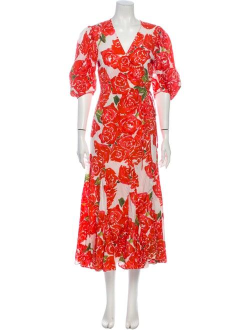 Rhode Floral Print Midi Length Dress