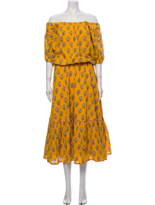 Rhode Floral Print Long Dress Yellow