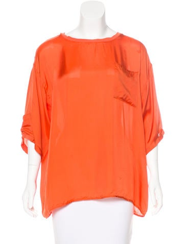 Reiss Silk-Blend Draped Top None