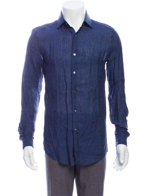 Reiss Linen Long Sleeve Shirt Blue