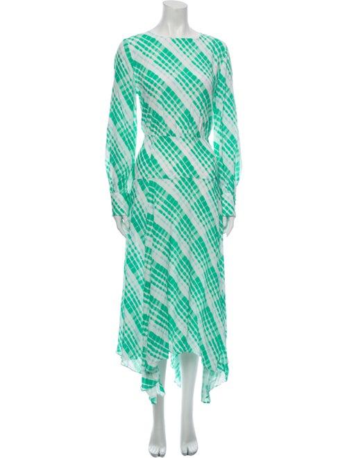 Rixo Printed Long Dress Green