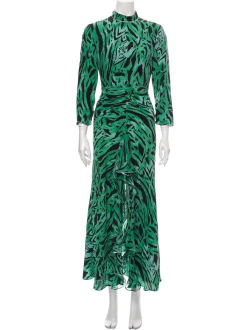 Rixo Silk Long Dress Green