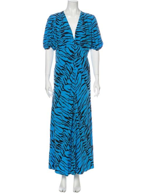 Rixo Printed Maxi Dress Long Dress Blue