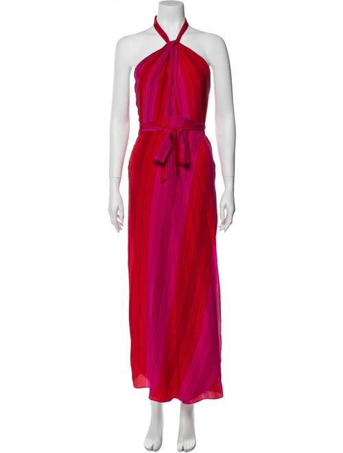 Rixo Silk Long Dress Orange