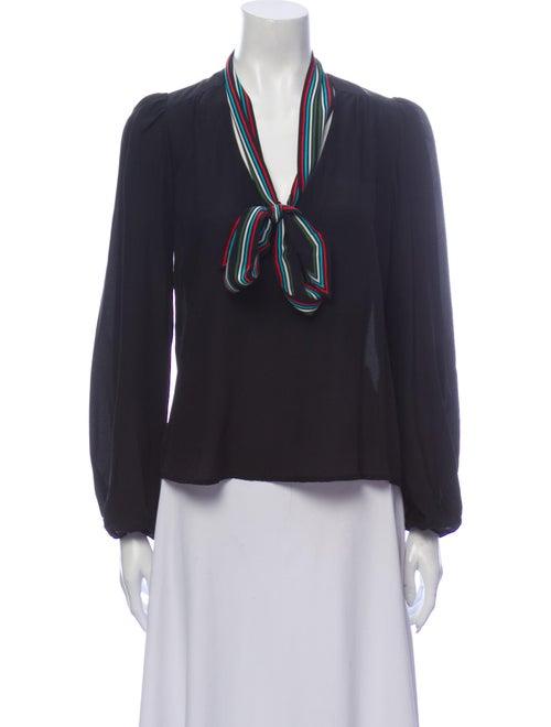 Rixo Silk Tie Neck Blouse Black