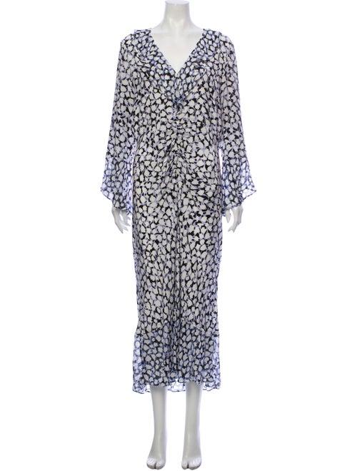 Rixo Silk Midi Length Dress Blue