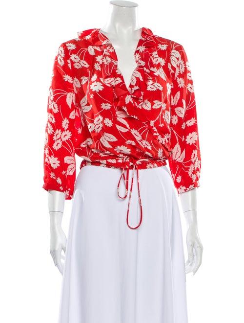 Rixo Silk Floral Print Crop Top Red