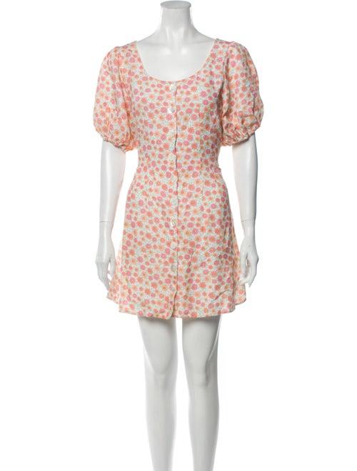 Rixo Floral Print Mini Dress Pink