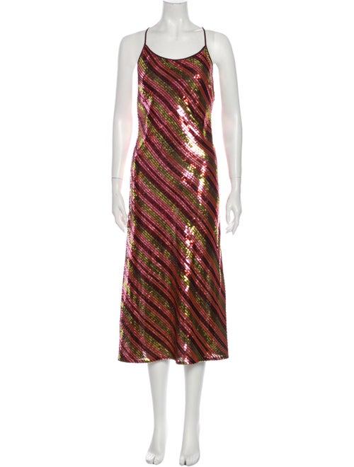 Rixo Striped Midi Length Dress