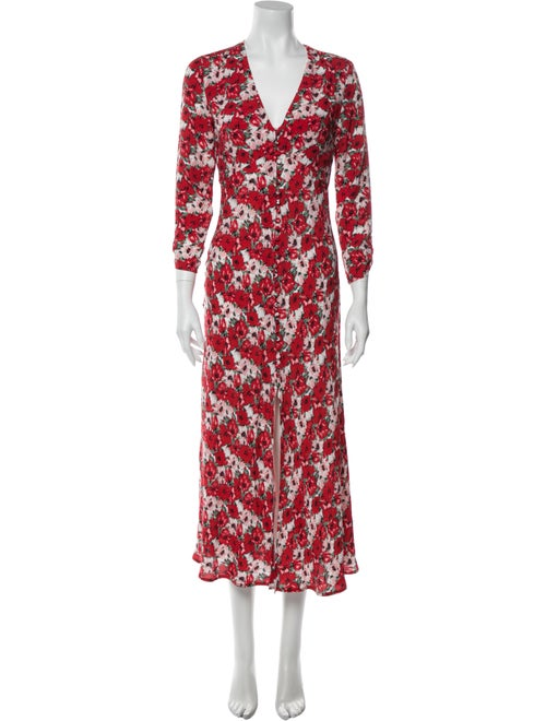 Rixo Floral Print Knee-Length Dress Red