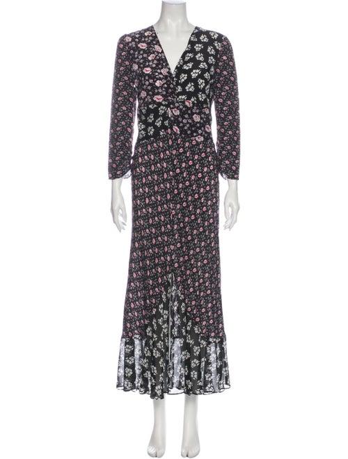 Rixo Silk Long Dress Black