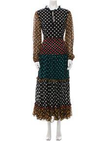 RIXO Polka Dot Print Long Dress