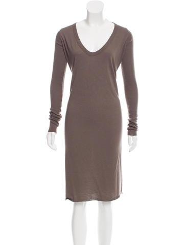 Rick Owens Lilies Long Sleeve Midi Dress None