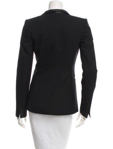 Black Leather-Trimmed Blazer