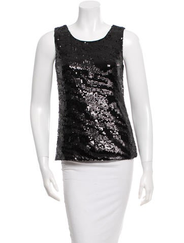 Rachel Zoe Sleeveless Sequined Top None