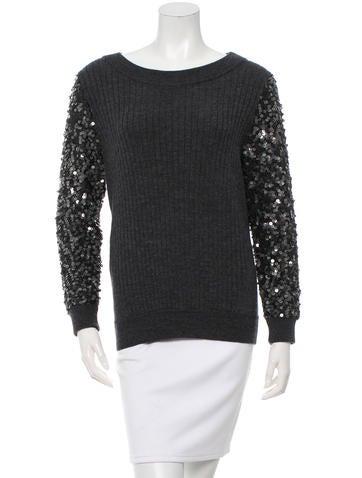 Rachel Zoe Sequin Sleeve Sweater None