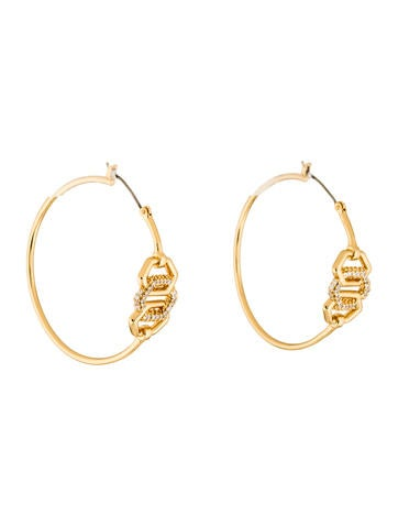 Rachel Zoe Crystal Link Hoop Earrings