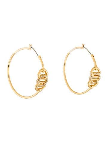 Rachel Zoe Crystal Link Hoop Earrings