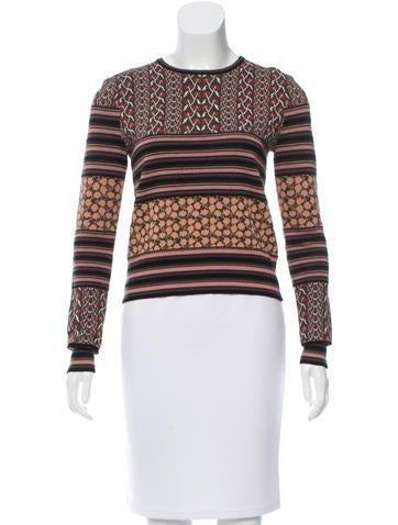 Rachel Zoe Patterned Wool-Blend Sweater None